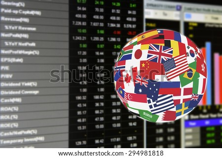 Flags globe over the display of daily stock market fundamental analysis including short financial reports for quantitative analysis. Global stock market investment concept. - stock photo