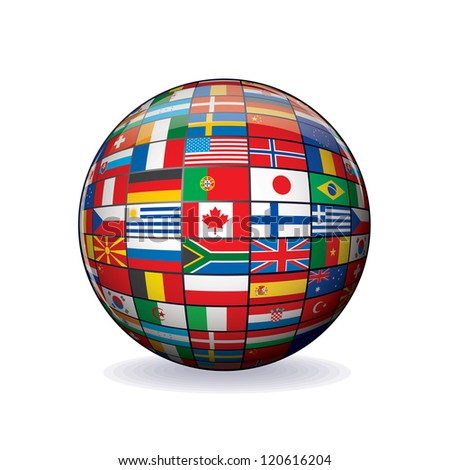 Flags Globe. Sphere with Flags of the World. Object Isolated on white Background. - stock photo