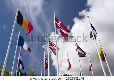 flags in front of blue sky