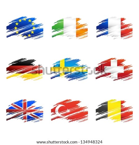 Flags in the form traces brush isolated