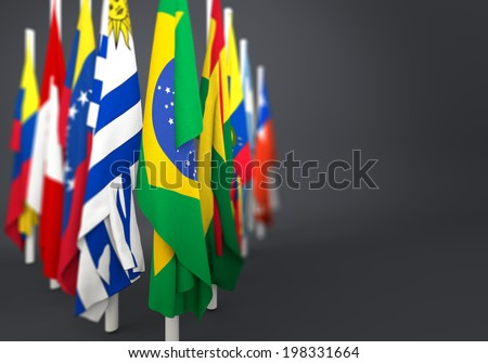 flags in the mast of america latina  - stock photo