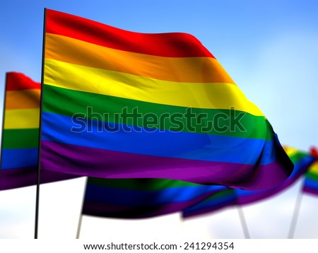 flags LGBT hovering in the wind - stock photo