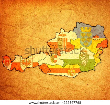 flags of administrative divisions of austria on old vinatge map - stock photo
