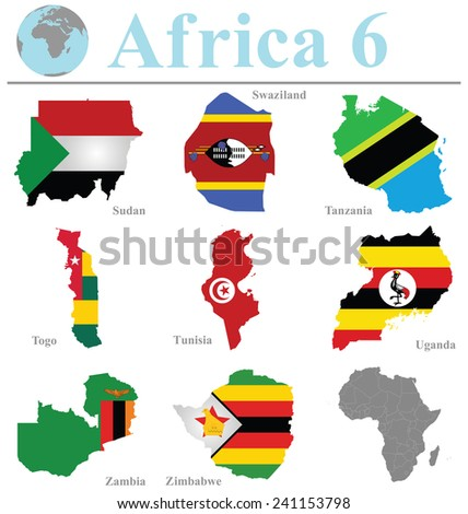 Flags of Africa collection 6 overlaid on outline map isolated on white background - stock photo