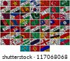 Flags of all Asia countries on a silk background - stock photo