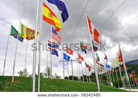 flags of all nations hosted on Colle Miravalle is where the great Peace Bell Mary Dolens