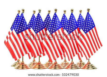 Flags of 10 American hanging in the gold metal flagpole,Isolated on the white background - stock photo