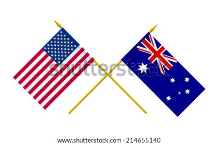 Flags of Australia and USA, 3d render, isolated on white - stock photo