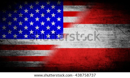 Flags of Austria and USA divided diagonally