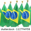 flags of Brazil - stock photo