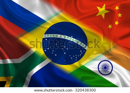 Flags of BRICS countries waving together - stock photo
