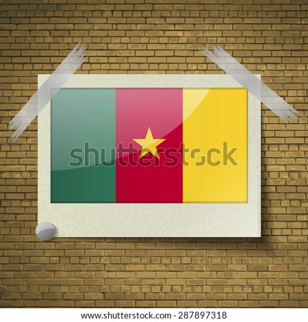 Flags of cameroon at frame on a brick background.  illustration. Rastrized version - stock photo