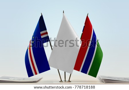 Flags of Cape Verde and The Gambia with a white flag in the middle