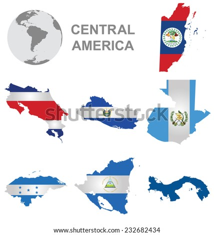 Flags of Central America collection overlaid on outline map isolated on white background with Panama shown solid colour due to copyright restrictions - stock photo