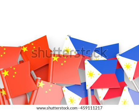 Flags of China and Philippines isolated on white. 3D illustration