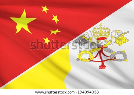 Flags of China and Vatican City State blowing in the wind. Part of a series. - stock photo