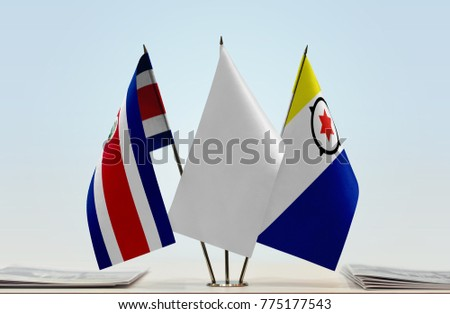 Flags of Costa Rica and Bonaire with a white flag in the middle