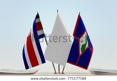 Flags of Costa Rica and Saint Eustatius with a white flag in the middle