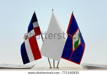 Flags of Dominican Republic and Sint Eustatius with a white flag in the middle