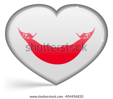 Flags of Eaaster Rapa Nui in a heart shape with highlights on the edges. illustration - stock photo