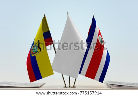 Flags of Ecuador and Costa Rica with a white flag in the middle