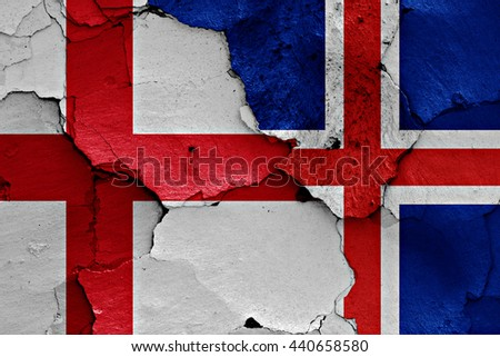 flags of England and Iceland painted on cracked wall - stock photo