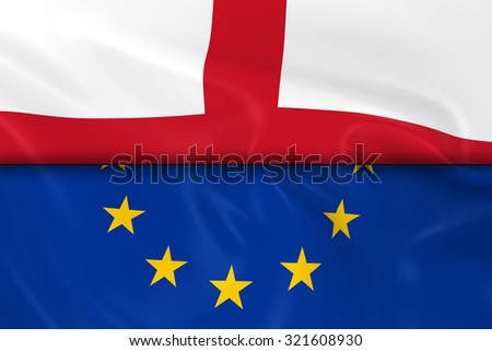 Flags of England and the European Union Split in Half - 3D Render of the English Flag and EU Flag with Silky Texture