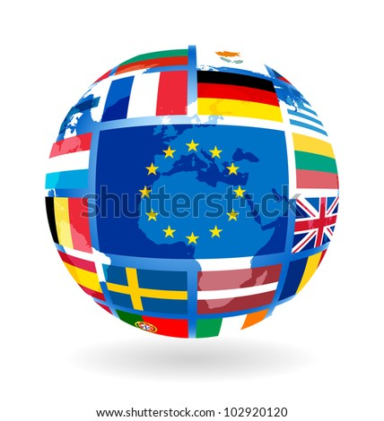 Flags of EU countries on globe sphere ball transparency - stock photo