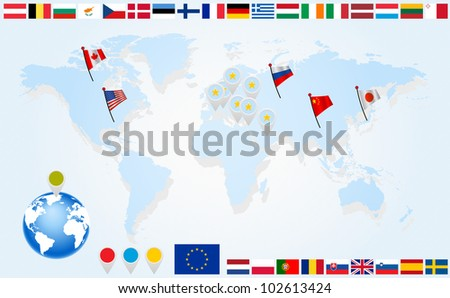 Flags of EU countries on world map and globe with pointers - stock photo