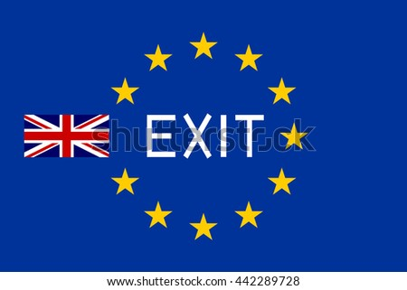 Flags of Europe and United Kingdom with word Exit. Brexit concept. - stock photo
