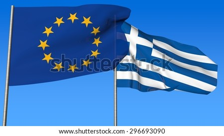 Flags of European Community and Greece on the blue sky background. - stock photo