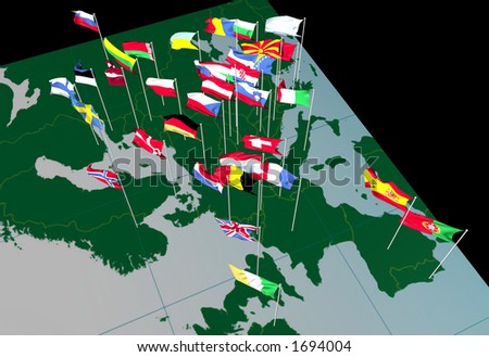 Flags of European countries flying from their capital cities. Viewed from the West. - stock photo
