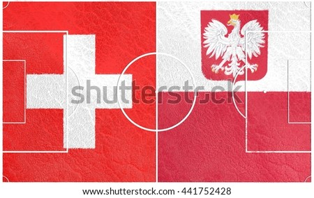 Flags of European countries participating to the final tournament of 2016 football championship. Football field textured by Switzerland and Poland national flags.3D rendering - stock photo