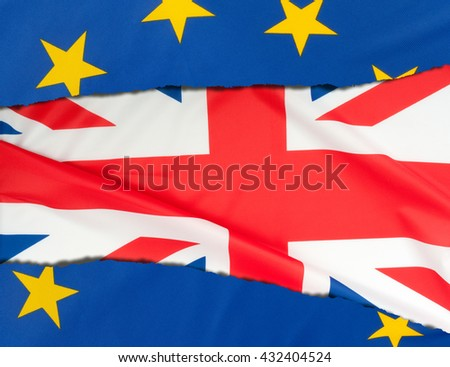 Flags of European Union and Great Britain