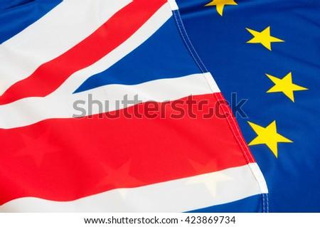 Flags of European Union and United Kingdom - stock photo