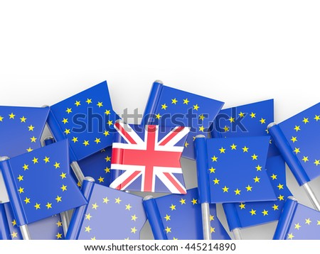 Flags of European Union and United Kingdom. Brexit concept 3D illustration - stock photo