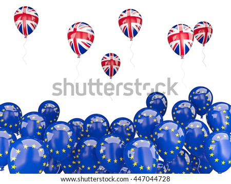 Flags of European Union and United Kingdom. Brexit concept 3D illustration