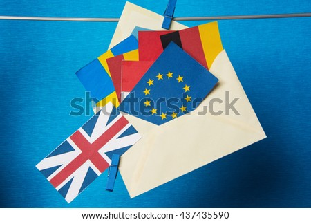 Flags of European Union (flags of different countries  eurozone) and United Kingdom, Brexit UK EU referendum concept. placard for text - stock photo