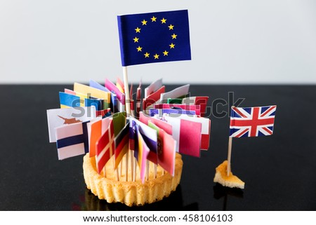 flags of european union in a cake, only a small crumb for great britain