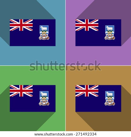 Flags of Falkland Islands. Set of colors flat design and long shadows.  illustration - stock photo