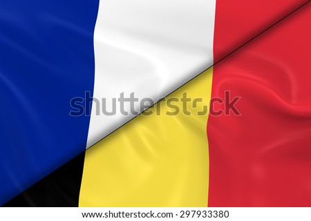 Flags of France and Belgium Divided Diagonally - 3D Render of the French Flag and Belgian Flag with Silky Texture - stock photo