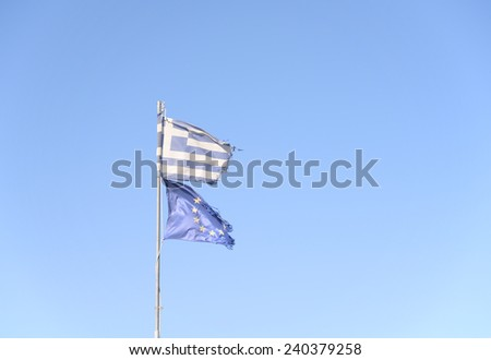 Flags of Greece and EU - stock photo