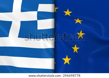 Flags of Greece and the European Union Split Down the Middle - 3D Render of the Greek Flag and EU Flag with Silky Texture