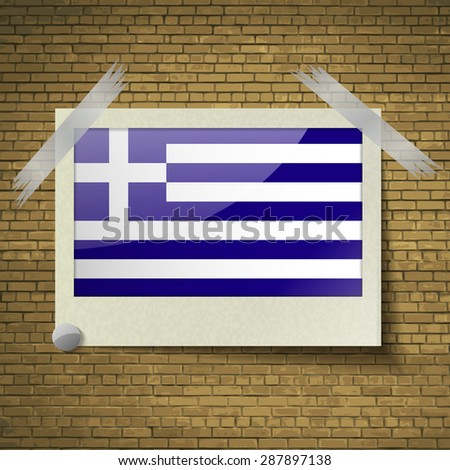 Flags of Greece at frame on a brick background.  illustration. Rastrized version - stock photo
