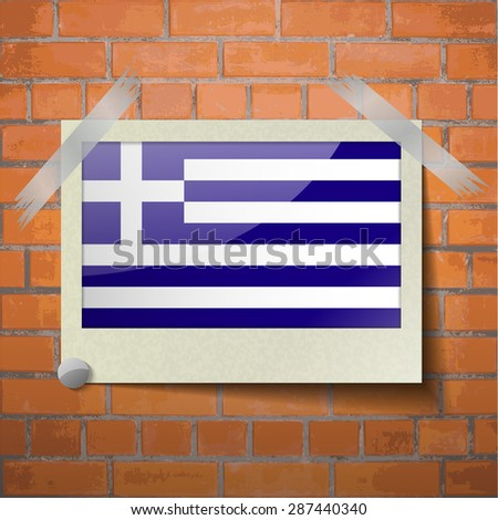 Flags of Greece scotch taped to a red brick wall.  Rasterized version - stock photo