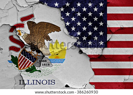 flags of Illinois and USA painted on cracked wall