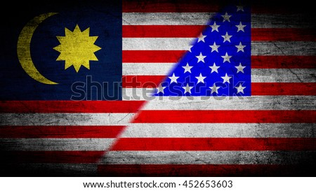 Flags of Malaysia and USA divided diagonally