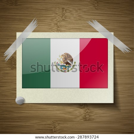 Flags of Mexico at frame on wooden texture.  illustration. Rastrized version - stock photo