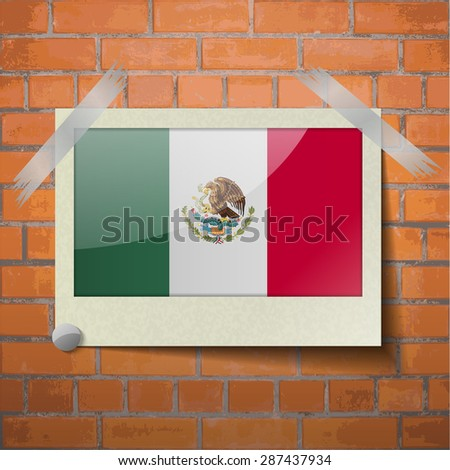 Flags of Mexico scotch taped to a red brick wall.  Rasterized version - stock photo