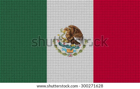 Flags of Mexico with abstract textures. Rasterized version - stock photo